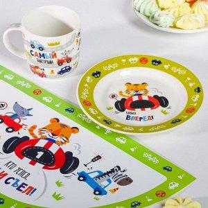 Набор детской посуды «Гонщик»: кружка 250 мл, тарелка ? 17.5 см, салфетка 35 ? 22 см