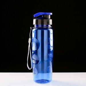Бутылка для воды 650 мл, спортивная, на шнурке, микс, 7х23 см