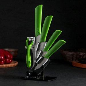 Набор кухонный, 5 предметов, на подставке, цвет зелёный 1007440