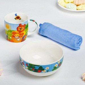 Набор посуды «Солнышко»: кружка 250 мл, тарелка глубокая 430 мл, полотенце 30 ? 30 см