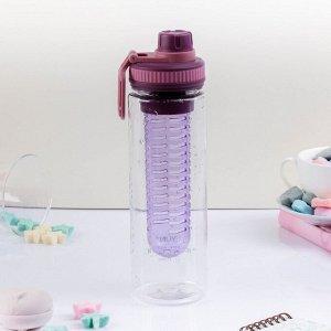 """Бутылка для воды """"Фруктовый микс"""", 700 мл, с отсеком для фруктов, микс, 25х8х7 см"""