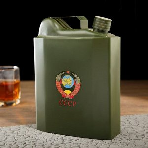 "Фляжка 1590 мл ""СССР"", темно-зелёная канистра, 16.5х6.5х20.5 см, микс"