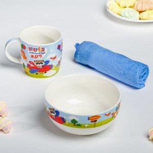 Набор посуды «Приключения ждут»: кружка 250 мл, тарелка глубокая 430 мл, полотенце 30 ? 30 см