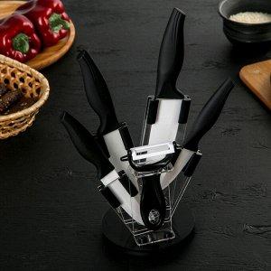 Набор кухонный, 5 предметов: ножи 8 см, 10,5 см, 13 см, 15 см, овощечистка, цвет чёрный 2346250
