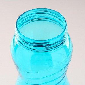 Бутылка для воды 1000 мл, фигурная, крышка на застёжке, на шнурке, микс, 9х25 см