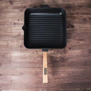 """Сковорода чугунная квадратная гриль """"ОПТИМА"""", 280 х 280 х 50 мм, ТМ BRIZOLL"""
