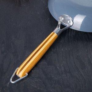 Сковорода чугунная 30 см, с бамбуковой ручкой
