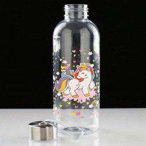 "Бутылка для воды ""Единорог"", 650 мл, микс, 20х7 см"