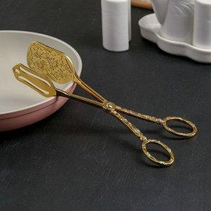 Щипцы кулинарные «Рахат золото», прямоугольные, 22 см