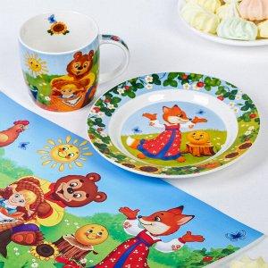 Набор детской посуды «Солнышко»: кружка 250 мл, тарелка ? 17.5 см, салфетка 35 ? 22 см
