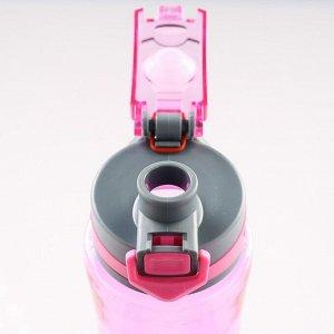 Бутылка для воды 800 мл, спортивная, крышка, с ручкой, микс, 7.5х25 см