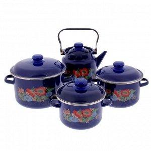 Набор посуды «Шиповник», 4 шт:кастрюли 2/3/5,5 л, чайник 3,5 л