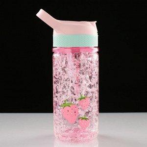 """Бутылка спортивная """"Фрукты"""" с гелем для охлаждения, 350 мл, микс, 7х20 см"""