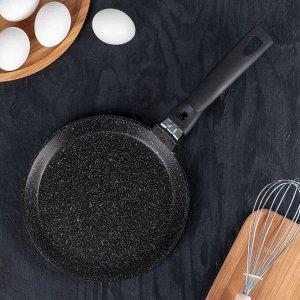 Сковорода блинная, d=20 см, антипригарное покрытие, цвет тёмный мрамор