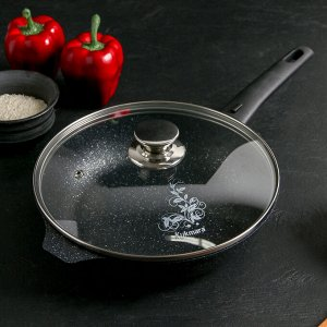 Сковорода 24 см со съёмной ручкой, стеклянная крышка, АП, тёмный мрамор