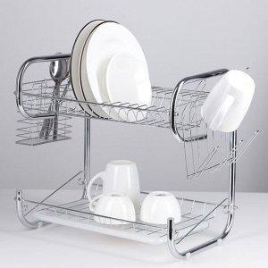 Сушилка для посуды Доляна «Стойка», Р-образная, 40?23,5?34 см, цвет хром