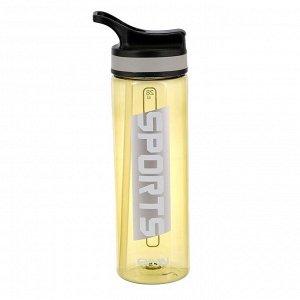 "Бутылка для воды ""Sports"", 750 мл, прозрачная, микс, 7х9х26 см"