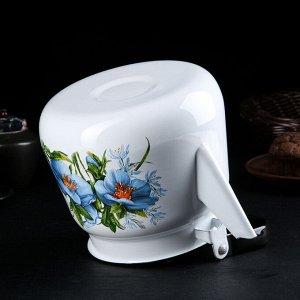 Чайник с кнопкой «Цветы синие» 3,5 л, цвет белый