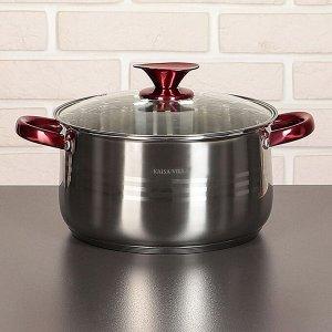 """Набор посуды """"Виктори 2"""", 6 предметов: кастрюли 1,9/2,7/3,6/6,1 л, ковш 1,9 л, сотейник с а/п покрытием 24х6,5 см, капсульное дно"""