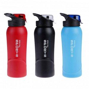 """Бутылка для воды """"Sport"""", 800 мл, крышка на защёлке, микс, 7.5х23 см"""