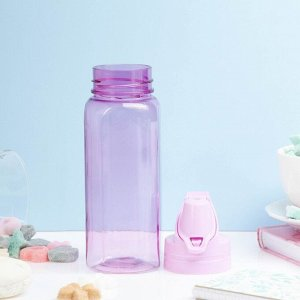 Бутылка для воды 450 мл, шестигранная с кольцом, микс, 8х23см