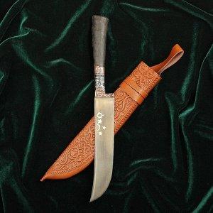 Нож Пчак Шархон малый, рукоять из рога сайгака, гарда с гравировкой