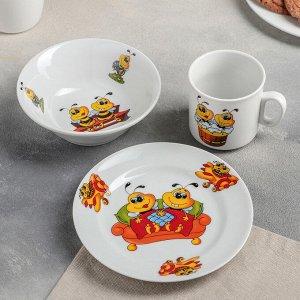 Набор посуды «Пчёлы», 3 предмета: кружка 250 мл, салатник 350 мл, тарелка мелкая 16,5 см, рисунок МИКС