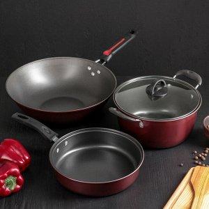 Набор посуды «Мистэри», 3 предмета: сковорода wok 31х9, кастрюля 2,5 л, сковорода 23, индукция