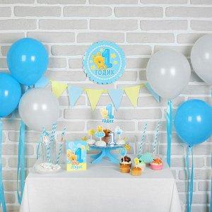 Набор для оформления праздника «1 годик. Малыш», воздушные шары, подставка для торта, гирлянда, топперы, открытка, свеча