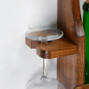"""Полка для вина """"Классическая"""". 80 х 50 х 10 см. массив ясеня"""