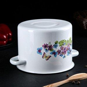 Набор посуды «Фиалки», 3 предмета: кастрюли 2 л, 3,5 л, ковш с крышкой 1,5 л