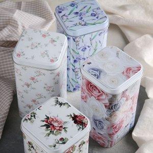 Банка для сыпучих Рязанская фабрика жестяной упаковки «Флора», 1,4 л, прямоугольная, цвет МИКС