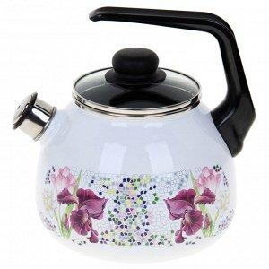 Чайник со свистком «Мозаика» 3 л, фиксированная ручка, цвет белый