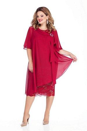 Платье Платье TEZA 235 красный  Состав ткани: Вискоза-20%; ПЭ-80%;  Рост: 164 см.  Платье трапециевидного силуэта с втачными рукавами. Верхний слой платья из мягкой струящейся ткани сильно расширен к