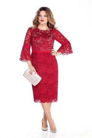 Платье Платье TEZA 263 №1  Состав ткани: Вискоза-20%; ПЭ-80%;  Рост: 164 см.  Элегантное женственное платье приталенного силуэта с втачным рукавом из кружева. Рукав прямой, по низу рукава широкий вол