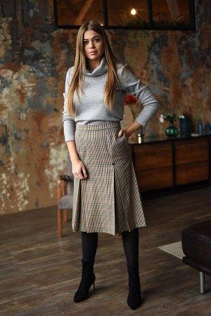 Юбка миди Пэ 90%, вискоза 10% Рост: 164 см. Стильная юбка на подкладке. Застежка на потайную тесьму-молнию в среднем шве заднего полотнища. дл. юбки 70 см.