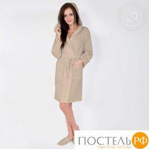 Бежевый  Халат банный c капюшоном мод. 012.16.11 раз 2XL/3XL