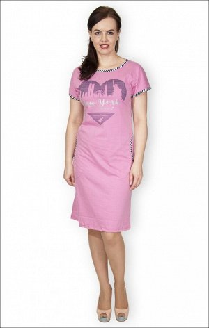 """Платье с карманами, принт """"New York"""", сухая роза (326-1)"""