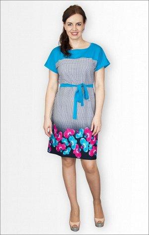 Платье трикотажное с поясом (210-5)
