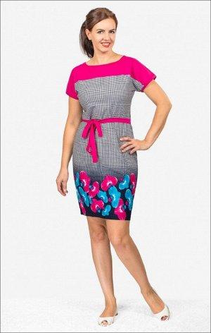 Платье трикотажное с поясом (210-17)