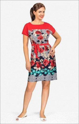 Платье трикотажное с поясом (210-16)