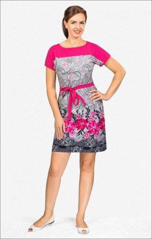 Платье трикотажное с поясом (210-15)