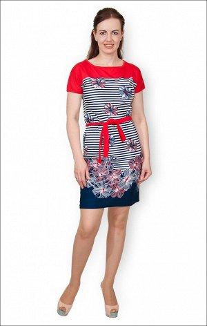 Платье трикотажное с поясом (210-14)