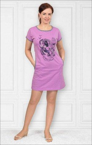 Платье трикотажное с карманами, принт, лиловый (153-3)