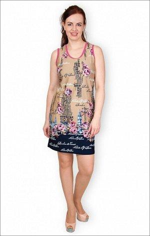 Платье трикотажное, розы (149-4)