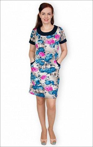 Платье с карманами интерлок - пенье, розы (229)