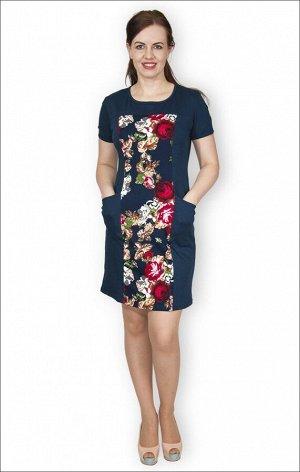 Платье с карманами интерлок - пенье, гобелен синий (215)