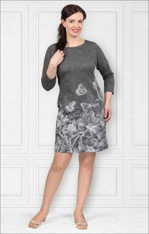 Платье футер с лайкрой, принт, берёзка - серый, меланжированный (448-1)