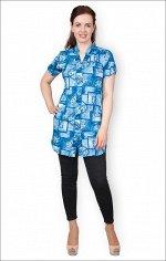 Рубашка на пуговицах с карманами, джинс (372-3)