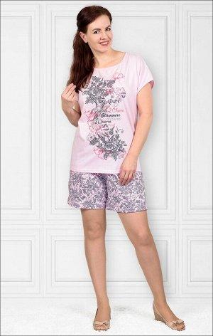 Костюм домашний с удлиненными шортами, розовый, принт (417-2)